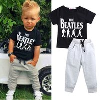 Wholesale Summer Outfits Sport Set - baby boys cool clothing set toddler tracksuit short sleeve tops grey pants cotton kids playsuit sport handmade outfit 2pcs set infant clothe