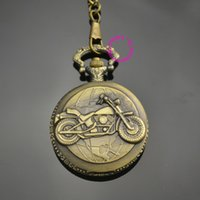 Wholesale Low Price Good Quality Watches - Wholesale-man father classic men gift motorcycle bike pocket watch short waist chain low price good quality retro vine bronze