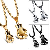 Wholesale Chain Necklace Boys - Gold Black Silver Plated Fashion Mini Boxing Glove Necklace Boxing Jewelry Stainless Steel Cool Pendant For Men Boys Gift