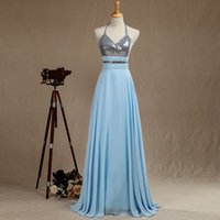 Sexy grogeous Sequin Halter Eveing ​​Kleid Prom Kleid Langes Sliver Sequin Mix Chiffion Brautjungfer Kleid Backless Boden Länge