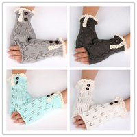 Wholesale Wholesale Knitted Glove - 2016 New Women Fashion Fingerless Gloves Weave Gloves With Buttons Lace Gloves Wram Knit Gloves High Quality Gloves Outdoor Gloves Q0456