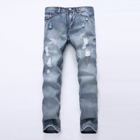 Wholesale Trousers Patch - Wholesale- 2016 new style hole patch beggars slim men jeans pants men's denim straight trousers Slim pants 28-40