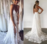 Wholesale Lace Cross Applique - Boho Lace Wedding Dresses V Neck Criss Cross Back Backless Bohemian Wedding Dresses Summer Beach Bridal Dresses Wedding Gowns Sweep Train