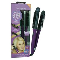 Wholesale New Electric Hair Curler - New professional hair comb Hair curler 2 in 1 Electric hair comb purple with in bag 100-240v