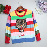 Wholesale Women s autumn winter coat The leopard animal print sequins embroidery rainbow stripes long sleeved sweater knit gradient