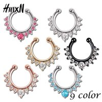 Wholesale Faux Body Jewelry - Top quality hot sale fake septum crystal clicker Fake nose Ring Piercing faux Body jewelry Hoop For Women Septum Clip non