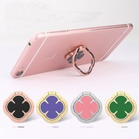 Wholesale Pink Leaf Ring - Ring Stand Holder Magnetic Bracket Four Leaf Clover Luxury Delicate Alloy Metal Automotive For Mobile Phone