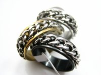 Wholesale Size Spinners - wholesale 100PCs Lot Men's Women's Silver Golden Black tone Stainless Steel chain spinner fashion Jewelry Rings high grade