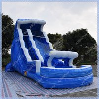 tobogán de agua para niños al por mayor-18o alto tobogán acuático inflable de mármol azul, tobogán inflable gigante para niños y adultos, tobogán inflable de calidad comercial con piscina