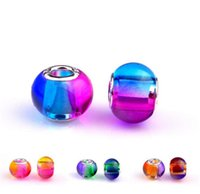 Wholesale Oval Glass Pendant - 6 Colors Charm Glass Beads Pendants Murano Hole Beads for Pandora Necklace Bracelet Jewelry DIY Accessories