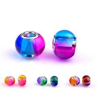 murano bead toptan satış-6 Renkler Charm Cam Boncuk Kolye Murano Delik Boncuk Pandora Kolye Bilezik Takı DIY Aksesuarları için