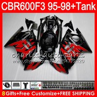 Wholesale purple fairings for honda cbr for sale - Group buy 8 Gifts Colors For HONDA CBR600F3 CBR600RR FS HM17 red flames CBR600 F3 F3 CBR F3 Fairing black