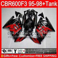 Wholesale Cbr Green - 8 Gifts 23 Colors For HONDA CBR600F3 95 96 97 98 CBR600RR FS 2HM17 red flames CBR600 F3 600F3 CBR 600 F3 1995 1996 1997 1998 Fairing black