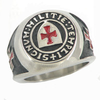 Wholesale Knights Cross - Stainless steel mens wemens jewelry free masonary shield knights templar red enamel Cross masonic ring gift for brother sisters