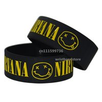 "Wholesale Coloured Wristbands - 25pcs lot NIRVANA Silicone 1"" Wide Filled in Colour Debossed Wristband Bracelet"