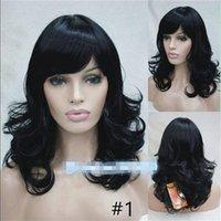Wholesale Long Wavy Layered Wigs - ePacket free shipping>Women's Black light Brown Mix Side Bang Layered Long Wavy Curly Hair Wig