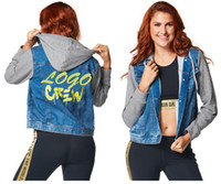 Wholesale Denim Jackets Hoodie Women - S M L woman Hoodies & Sweatshirts Crew Denim Jacket Long Sleeveless Hoodie blue color