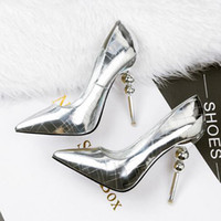 Wholesale Heels Fashion Lady Shoes Bridal - Newest Metal Mirror Sexy Stiletto Heels Party Shoes For Ladies 5 Colors Summer Fashion Wedding Bridal Shoes Pointed Toe Shoes Free Shipping