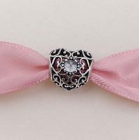doğum günü kolyeleri toptan satış-Nisan İmza Kalp Birthstone Charm 925 Gümüş Boncuk Avrupa Pandora Stil Takı Bilezikler Kolye Uyar 791784RC