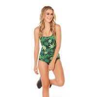 Wholesale Sleeveless One Piece Bathing Suit - 2017 New 1030 Sexy Girl Summer Plant weeds leaf 3D Print Sleeveless One piece Swimsuit Swimwear Women Bodysuit Bathing Suit