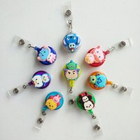 Wholesale Mini Retractable - 8pcs Promotional gifts Mini Cartoon Retractable Badge Reel 2017 The New Student Nurse Exihibiton ID Name Card Badge Holder Office Supplies