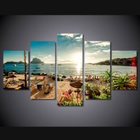 spain poster - 5 Set Framed HD Printed Spain Ibiza Sea Shore Beach Picture Wall Art Canvas Print Decor Poster Canvas Modern Oil Painting