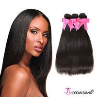 Wholesale Cheap Great Hair - Cheap Brazilian Human Hair Bundles Straight Hair Weaves 3Pcs  Lot Wet And Wavy Human Hair Dyeable 7A Great Quality