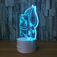 3D Squirtle LED Illusion Lâmpada Bluetooth Speaker com 5 luzes RGB TF Card Slot DC 5V USB de carregamento Atacado Dropshipping