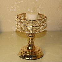 Wholesale cylinder pc for sale - Group buy Exquisite Crystals Candle Holder Metal Golden Candelabra Classic Wedding Centerpiece Home Decoration Candlesticks