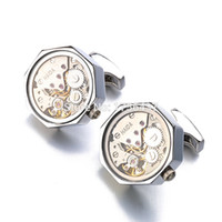 erkekler steampunk saatler toptan satış-Fonksiyonel Izle Hareketi Kol Düğmeleri Ile Cam Paslanmaz Çelik Steampunk Dişli İzle Mekanizması Kol Mens için Relojes gemelos