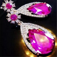Wholesale fashion earrings crystal rhinestone resale online - Elegant Alloy Dangle Drop Earrings DHL Girl Party Jewelry Valentine s Day Gift Women Stud Fashion Earring Christmas Bohemian Zircon Earring