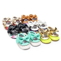Wholesale Wholesale Mary Janes - Kids PU Leather Footwear Floral Mary Janes Big Bow Baby Girl Princess Moccasins Soft Moccs First Walkers Shoes 0101127