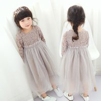 Wholesale Knee Length Chinese Dresses - Korean baby Girls Clothes lace Flower Princess Dresses Tulle Dress Childrens Fashion Toddler Dress kids Pageant Formal Party Clothing A263