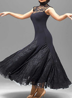 Wholesale Rhinestone Dance Costumes - custom black lace flamenco dress spanish dance costume ballroom dance competition dresses ballroom dance dresses waltz tango dancewear