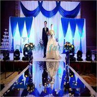 Wholesale house double - 1.2m Wide Silver Double Side Wedding Ceremony Centerpieces Decoration Mirror Carpet Aisle Runner Party Supplies