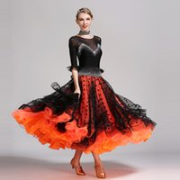Wholesale Sequin Fringe Dance Dress - 2017 black sequins ballroom dance competition dresses dance ballroom waltz dresses standard dance dress fringe foxtrot flamenco
