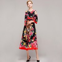 Wholesale Elegant Print Runway Dress - New Arrival 2017 Women's O Neck 3 4 Printed Floral Animals Printed Elegant Mid Calf Runway Dresses