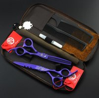 Wholesale violet paint resale online - hot purple dragon violet inch paint Hairdressing scissors set Flat shear Teeth scissors thinning cutting scissors Hair Styling Tools