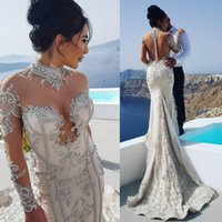Wholesale Wedding Dresses Covering Back - Gorgeous Beads Mermaid Wedding Dresses Sleeves Bridal Gowns High Neck Illusion Back Covered Buttons Appliques Wedding Gown Bohemia