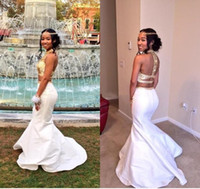 Wholesale rachel allan prom for sale - White Gold Mermaid Prom Dresses High Neck Crystal Beaded Satin Backless Two Pieces Homecoming Dresses Rachel Allan K17 Party Dress