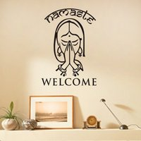 Wholesale Black Religious Art - Welcome Namaste Wall Decals Vinyl Art Wall Stickers Home Decor Living Room Yoga Studio Wall Decoration