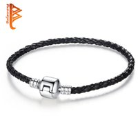 Wholesale Mark Chain - BELAWANG Silver Black Leather Braided Charm Chain Bracelets with Silver Clip Charm Beads 17-21cm Fits Charm Bracelets Jewelry DIY Marking