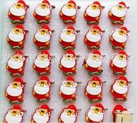 Wholesale Led Flash Badge - New Cartoon 25pcs set Cartoon Santa Claus PVC LED Badge Flashing Brooch,Children Party Christmas Valentine's Day Decoration F--7