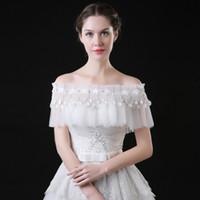 Wholesale Boat Jacket - Bridal Wraps 2017 Wedding Jacket White Wedding Coat Wedding Bolero Shrug Jackets for Evening Dresses Boat Neck Off The Shoulder