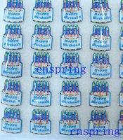 Wholesale 25 Birthday Cake - New Cartoon 25pcs set Birthday Cake PVC LED Badge Flashing Brooch,Children Party Halloween Decoration p--25