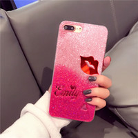 Wholesale Iphone Sexy Cover - Fashion sweat-heart sexy lip glitter case for Iphone 8 7 6S 6plus case shinning back cover