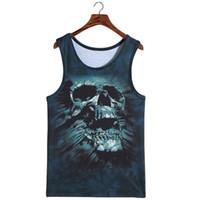 Wholesale Leopard Print Mens Tees - Wholesale- Mens Bodybuilding Tank Tops Skull Men T-Shirt Leopard Animal 3D Sleeveless T Shirts Tiger Cat Wolf Vest Tanks Tops Tees Fashion