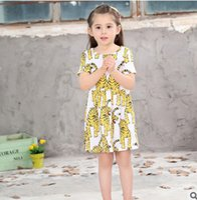 Wholesale Cartoon Tiger Dress - Children dresses INS girls tiger printed short sleeve dress kids cartoon animal princess dress fashion kids summer clothes T0312