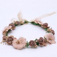 Wholesale Cherry Blossom Hair - 5pcs lot Flower Hairbands Cherry Blossoms PE Artificial Floral Hair Accessories Beach Headwear For Bride Wedding Headdress