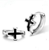 Barato Prego Preto-Screw Back Earrings 925 Silver Classic Black Crosses Stud Earrings para Biker Cool Men Stud Earrings Brincos